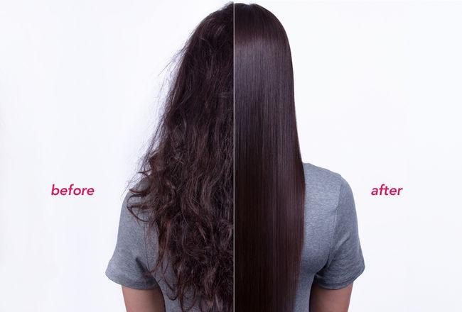 Before straightening vs After straightening - best hair straightener in UAE