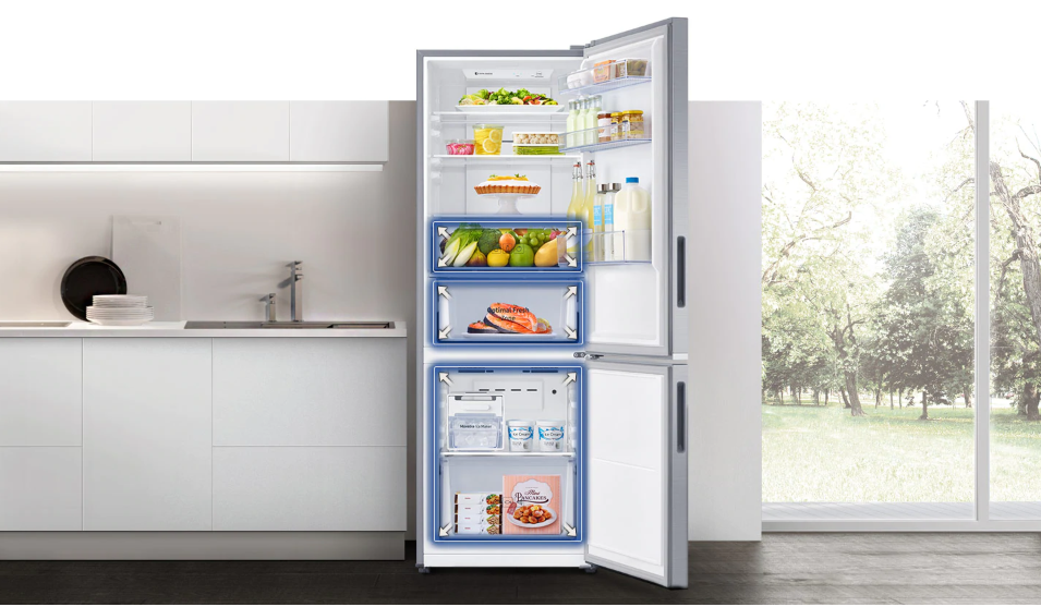 Samsung Refrigerator Review for UAE- Bottom Mount double door 315L. Compact design  perfect for the modern kitchen.