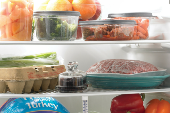 Frozen food storage chart for an upright freezer